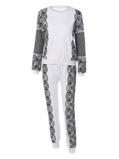 Sports Printed Sweatshirt And Drawstring Pants - White M