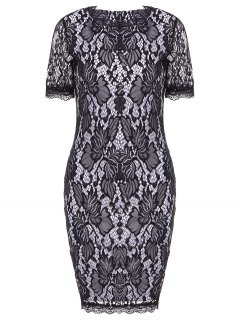 Lace Hook Patch Pencil Dress With Sleeves - Black S