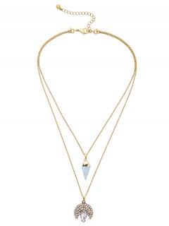 Rhinestone Triangle Moon Layered Pendant Necklace - Golden