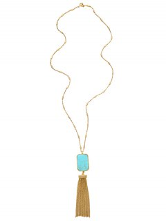 Alloy Faux Turquoise Geometric Sweater Chain - Golden