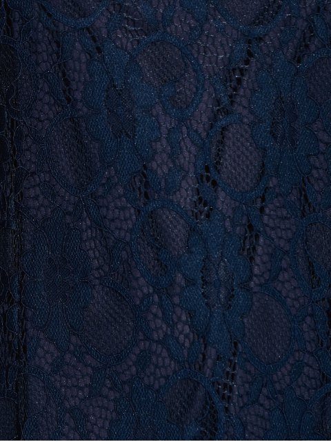 outfit Short Lace Dress With Sleeves - PURPLISH BLUE M Mobile