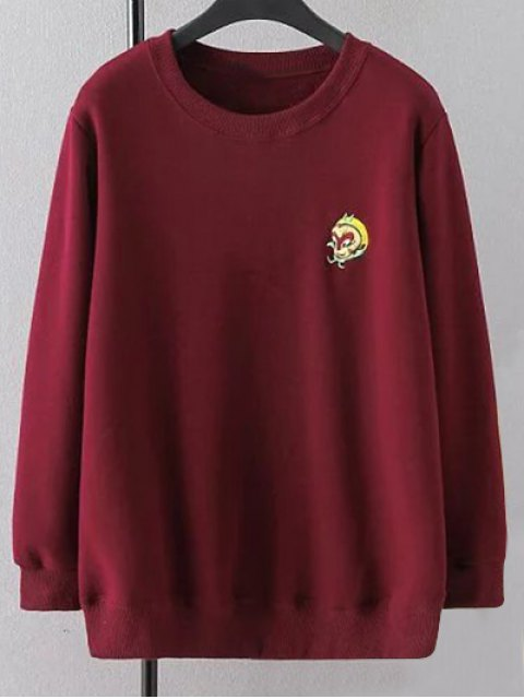 womens Plus Size Embroidered Crew Neck Sweatshirt - WINE RED XL Mobile