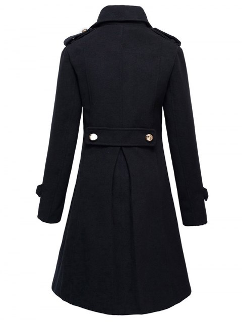 fancy Woolen Double-Breasted Coat - BLACK 2XL Mobile