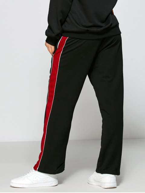 chic Color Block Fitting Track Pants - BLACK M Mobile