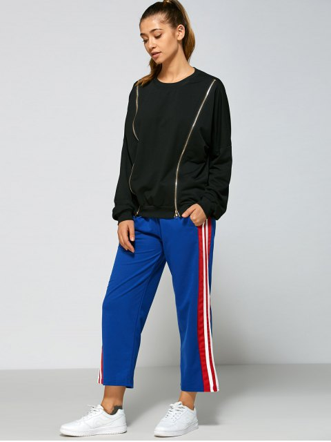 fancy Stripes Fitting Track Pants - BLUE L Mobile