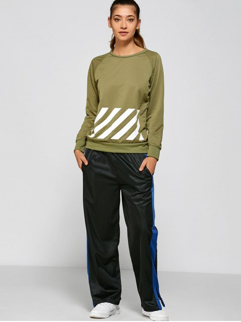 lady BF Style Printed Sports Sweatshirt - GREEN S Mobile