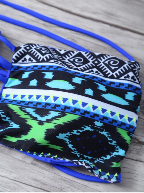 fashion Argyle Bandeau Bikini - BLUE S Mobile