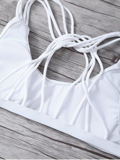 fancy Padded Strappy Bikini - WHITE M Mobile