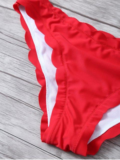 latest Scalloped Bandeau Bikini - RED XL Mobile