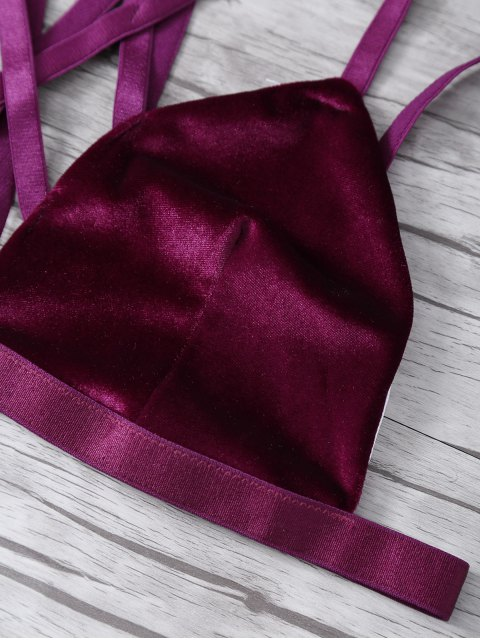 outfits Strappy Gathered Cut Out Bra - WINE RED S Mobile