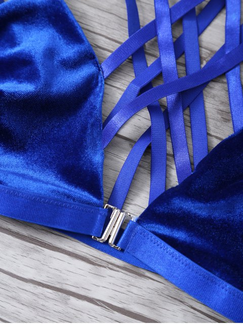 latest Strappy Gathered Cut Out Bra - DEEP BLUE S Mobile