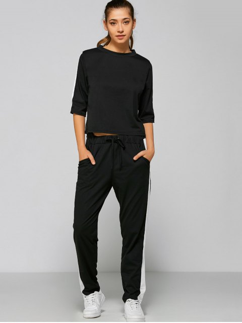 best Drawstring Pants with Color Block Top - BLACK M Mobile