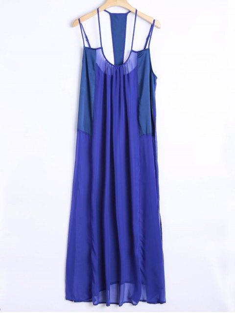 affordable Cami Loose High Slit Dress - BLUE S Mobile