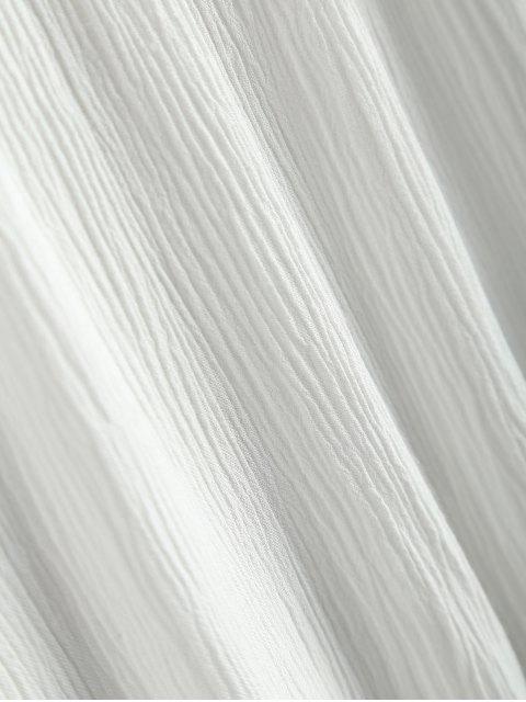hot V Neck Chiffon Spliced Blouse - WHITE S Mobile