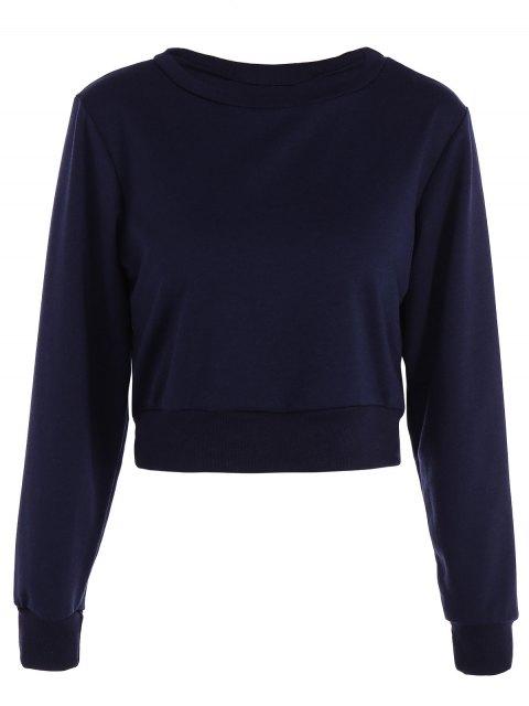 lady Casual Sports Cropped Sweatshirt - PURPLISH BLUE S Mobile