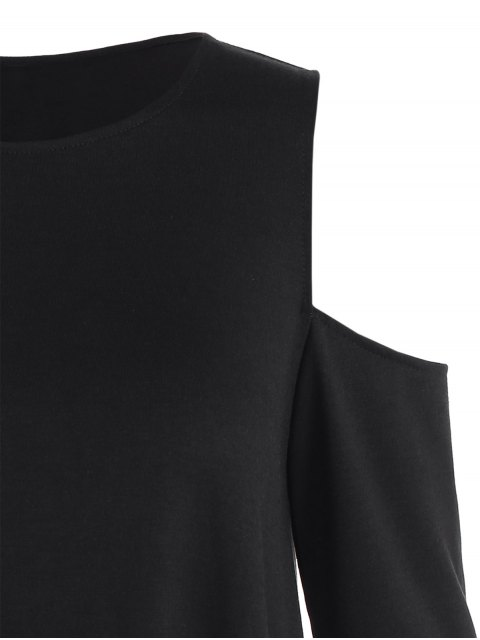 trendy Loose Cold Shoulder T-Shirt - BLACK XS Mobile