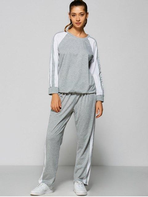 latest Pants and Raglan Sleeves Striped Sweatshirt - GRAY M Mobile