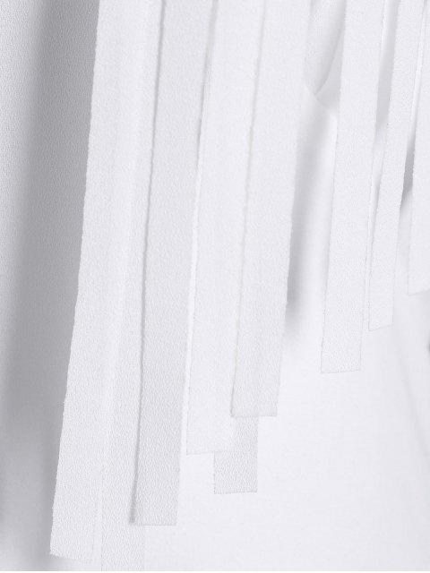 fashion Backless Halter Maxi Evening Dress With Fringe - WHITE M Mobile