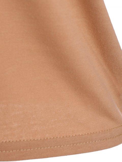 women's Criss-Cross Cropped T-Shirt - KHAKI M Mobile