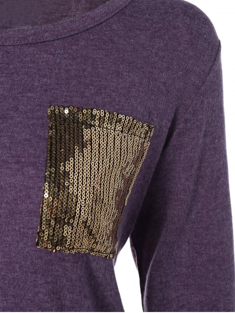 outfits Sequined Pocket Slit T-Shirt - PURPLE M Mobile