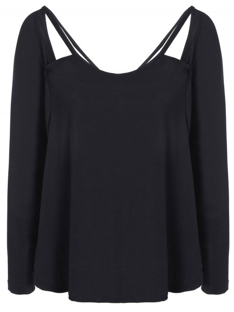 online Casual Cut Out T-Shirt - BLACK S Mobile