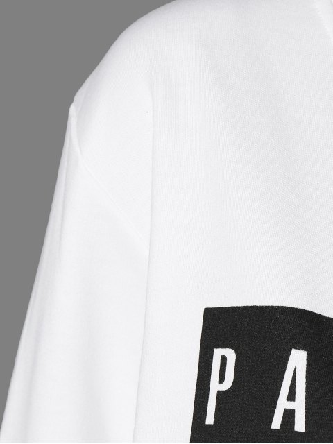 new Letter Sweatshirt and Drawstring Sports Pants - WHITE S Mobile