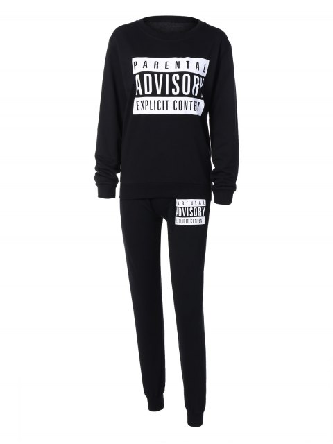 hot Letter Sweatshirt and Drawstring Sports Pants - BLACK L Mobile