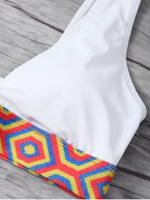 women's Straps Tribal Print Bikini - WHITE S Mobile