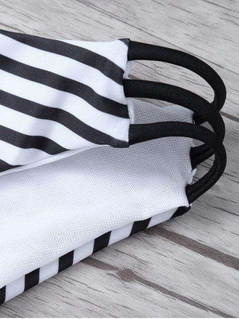 new Stripes Halter Cutout Bikini - WHITE AND BLACK M Mobile