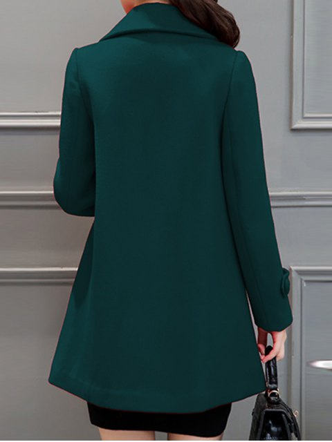 fancy Lapel Collar Swing Peacoat - BLACKISH GREEN XL Mobile