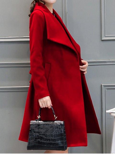 buy Drape Front Woolen Blend Walker Coat - RED M Mobile