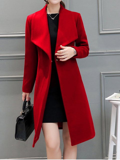 buy Drape Front Woolen Blend Walker Coat - RED M Mobile