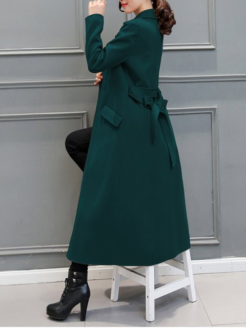 outfit Belted Woolen Blend Maxi Coat - BLACKISH GREEN 2XL Mobile