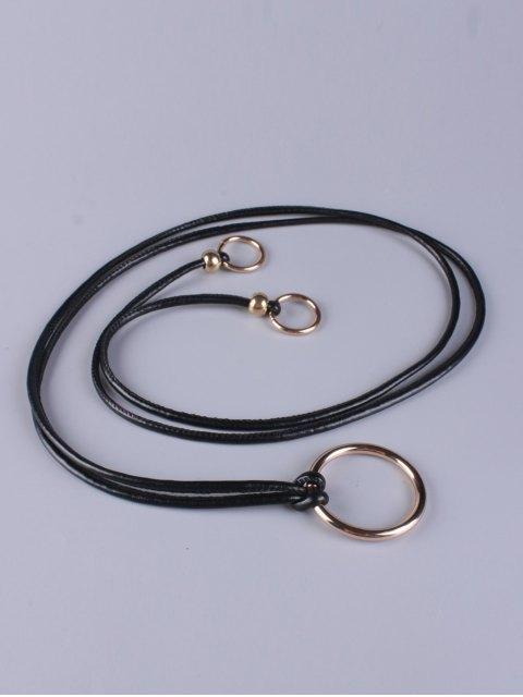 buy Adjustable PU Leather Ring Belt - BLACK  Mobile