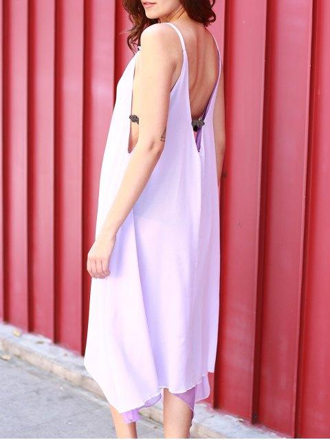 shops High Low Irregular Hem Spaghetti Straps Dress - LIGHT PURPLE XL Mobile