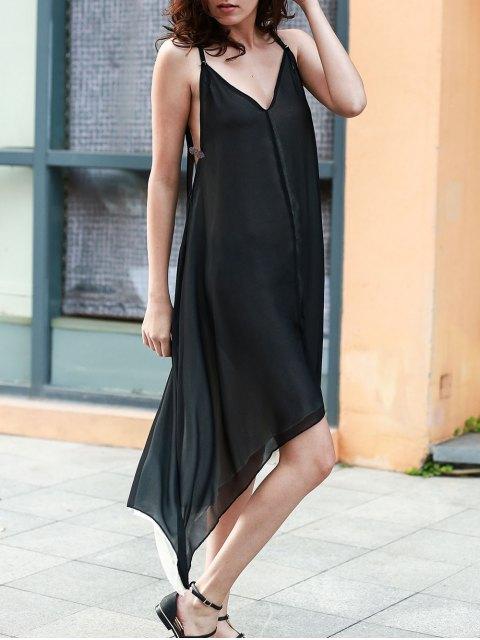 chic High Low Irregular Hem Spaghetti Straps Dress - BLACK XL Mobile