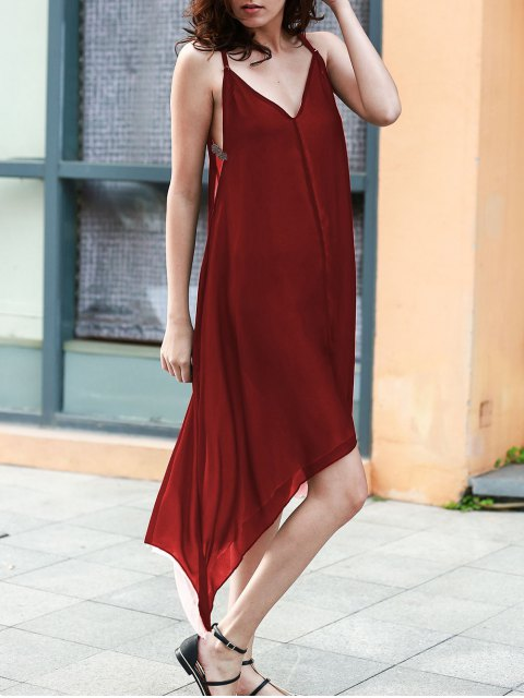 fancy High Low Irregular Hem Spaghetti Straps Dress - WINE RED S Mobile