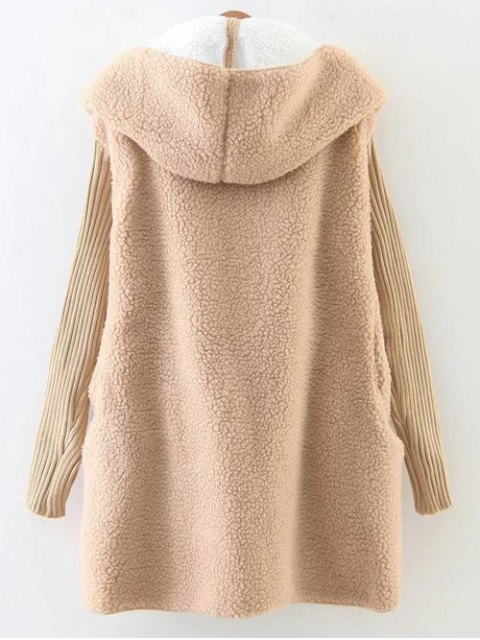 trendy Hooded Fluffy Fleece Coat With Knit Sleeve - KHAKI ONE SIZE Mobile