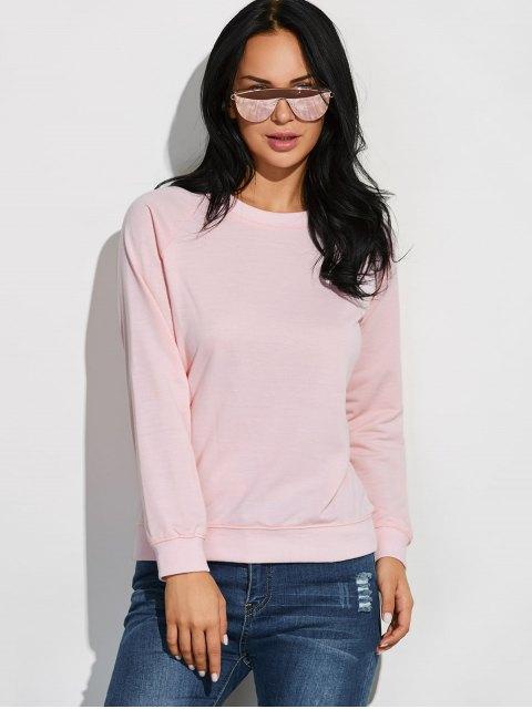 trendy Raglan Sleeve Basic Sweatshirt - PINK L Mobile