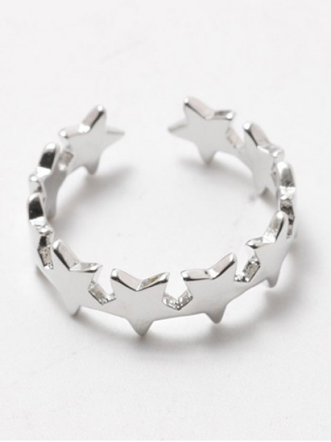 outfit Polished Star Cuff Ring - SILVER WHITE  Mobile