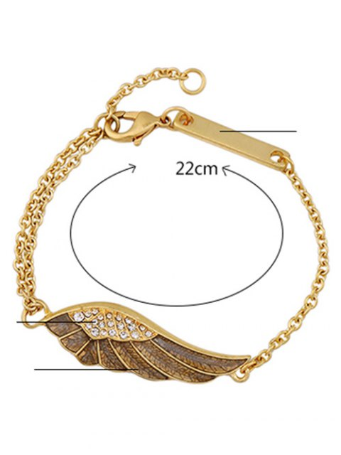 buy Vintage Angel Wing Rhinestone Bracelet - GOLDEN  Mobile