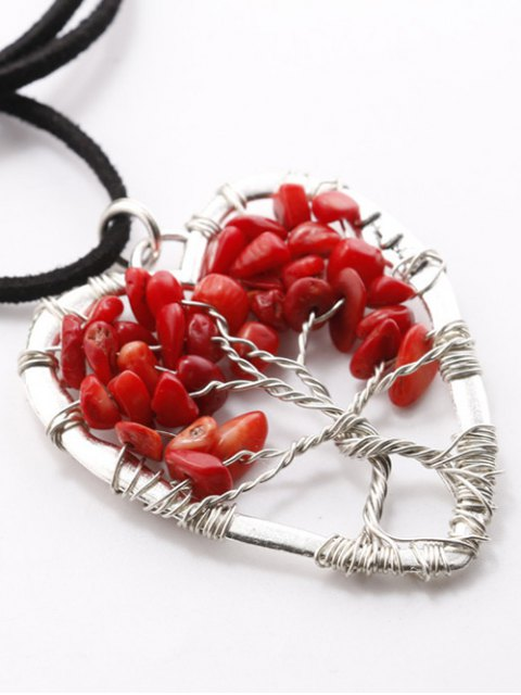 lady Handcraft Heart Necklace - RED  Mobile