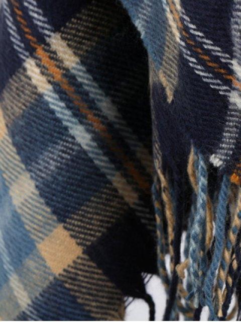 womens Plaid Fringe Shawl Scarf - PURPLISH BLUE  Mobile