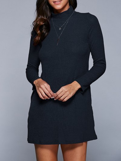 Long Sleeve A Line Sweater Dress - Purplish Blue