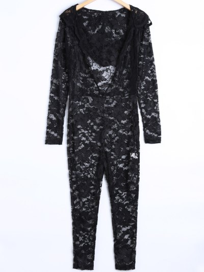 See-Through Jumpsuit - BLACK M Mobile