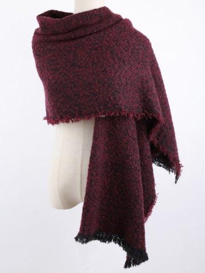 Winter Shawl Scarf - DARK RED  Mobile