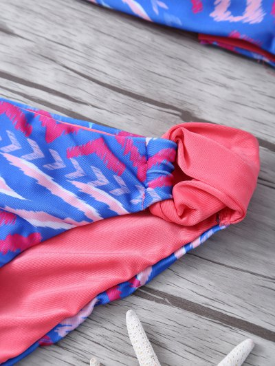 Halter Printed Reversible Bikini - BLUE M Mobile