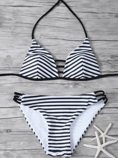 Stripes Halter Cutout Bikini - WHITE AND BLACK L Mobile
