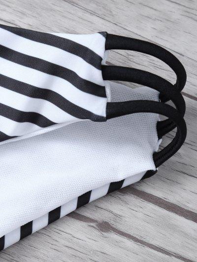 Stripes Halter Cutout Bikini - WHITE AND BLACK M Mobile