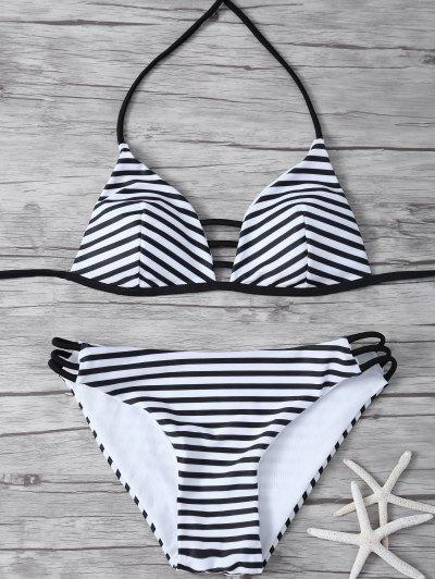 Stripes Halter Cutout Bikini - WHITE AND BLACK S Mobile